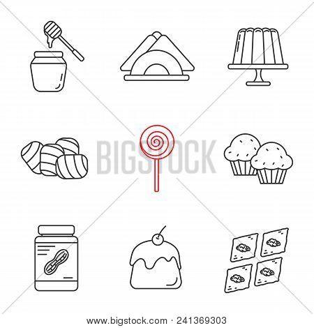 Confectionery Linear Icons Set. Contour Symbols. Honey Jar, Jelly Pudding, Table Napkins, Marshmallo