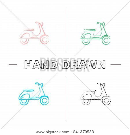 Scooter Side View Hand Drawn Icons Set. Motorbike. Color Brush Stroke. Isolated Vector Sketchy Illus