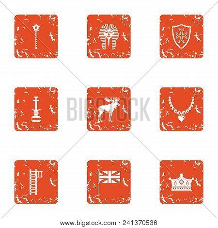 Boyhood Icons Set. Grunge Set Of 9 Boyhood Vector Icons For Web Isolated On White Background