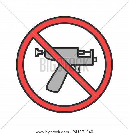 Forbidden Sign With Piercing Gun Color Icon. No Ear Piercing Instruments Prohibition. Isolated Vecto