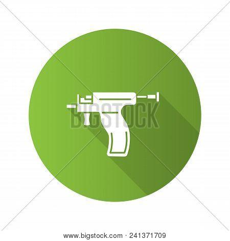 Piercing Gun Flat Design Long Shadow Glyph Icon. Ear Piercing Instrument. Vector Silhouette Illustra