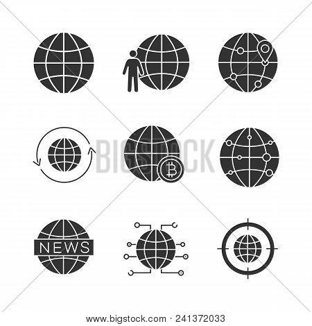 Worldwide Glyph Icons Set. Globe, Planet Population, International Route, Around The World, Global B