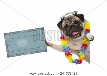 Frolic Summer Pug Dog With Hawaiian Flower Garland And Sunglasses, Holding Up Blue Vintage Wooden Bo