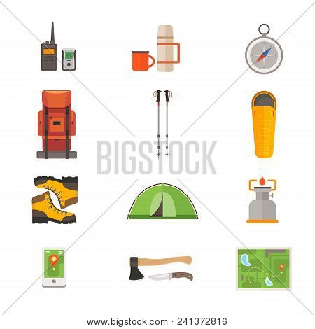 Set Of Icons On Theme Of Travel Gear: Backpack For Hiking, Tent For Tourism, Thermos, Map, Compass,