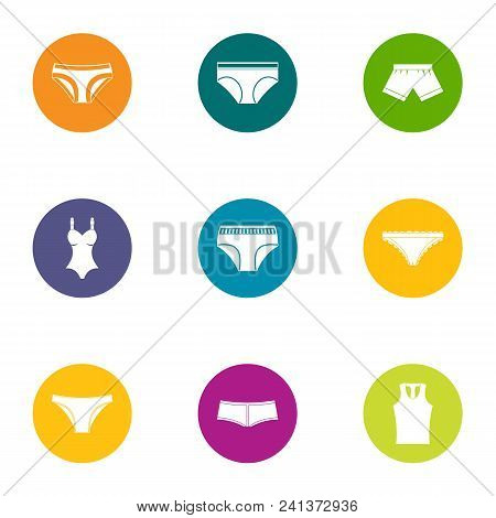 Sexy Lingerie Icons Set. Flat Set Of 9 Sexy Lingerie Vector Icons For Web Isolated On White Backgrou