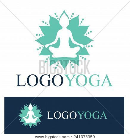 Light Blue Vector Logo For Yoga Center. Isolated On A White Background And A Version On Dark Blue. S