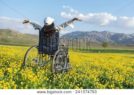 Feeling Freedom For Disabled People;relaxing Day For Disabled