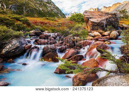 Beautiful long exposure picture of brook on a trail to Laguna Esmeralda near Ushuaia in Tierra del Fuego, Argentina