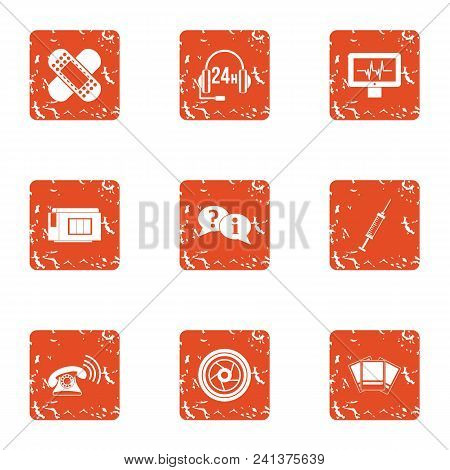 Portable Telephone Icons Set. Grunge Set Of 9 Portable Telephone Vector Icons For Web Isolated On Wh