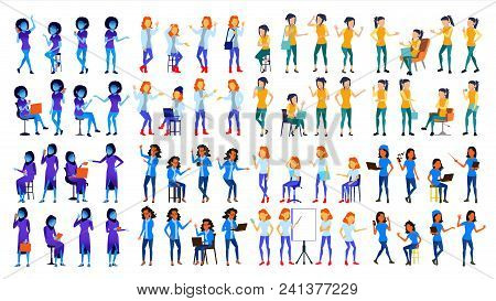 Woman Set Vector. Modern Gradient Colors. People Different Poses. Business Character. Beautiful Pers