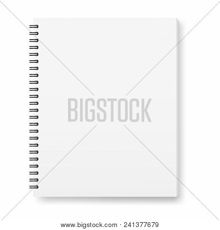 Vector Realistic Image (layout, Mock -up) Of A Notebook, Top View. White Sheets Of Paper, Fastened W
