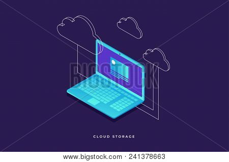Concepts Cloud Storage. Laptop On Blue Background. Synchronization And Storage Of Data. 3d Isometric