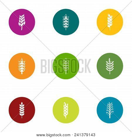 Gluten Content Icons Set. Flat Set Of 9 Gluten Content Vector Icons For Web Isolated On White Backgr