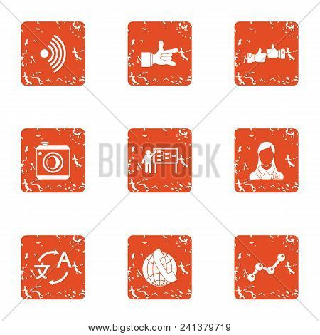 Comprehensive Icons Set. Grunge Set Of 9 Comprehensive Vector Icons For Web Isolated On White Backgr