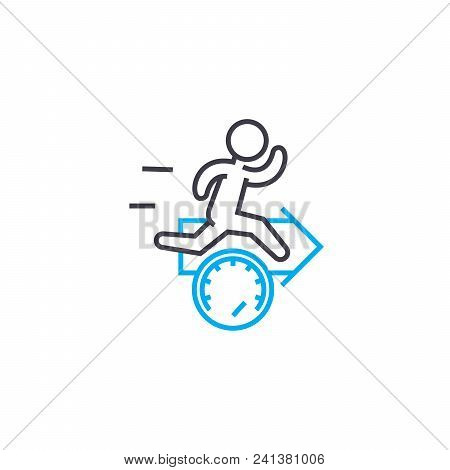 Accelerated Work Pace Line Icon, Vector Illustration. Accelerated Work Pace Linear Concept Sign.