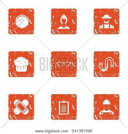 Agricultural Master Icons Set. Grunge Set Of 9 Agricultural Master Vector Icons For Web Isolated On