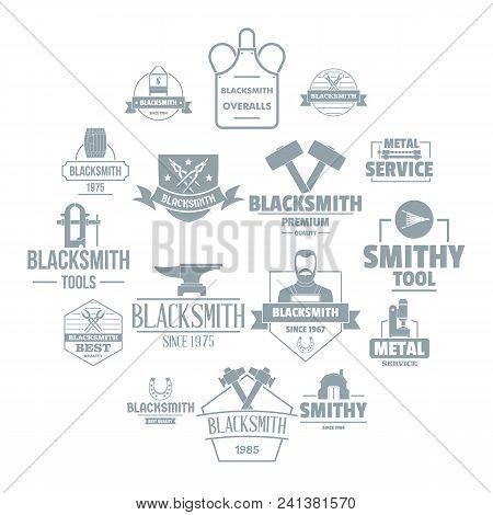 Blacksmith Metal Logo Icons Set. Simple Illustration Of 16 Blacksmith Metal Logo Vector Icons For We