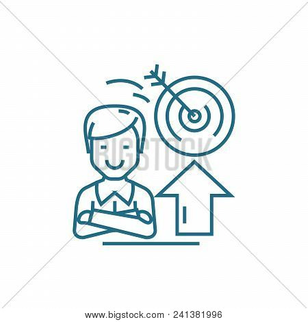 Ambitious Objectives Line Icon, Vector Illustration. Ambitious Objectives Linear Concept Sign.