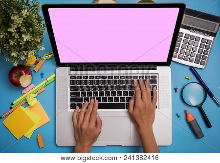Computer Notebook Laptop Blank Screen For Mockup Copyspace Design Advertising Background.
