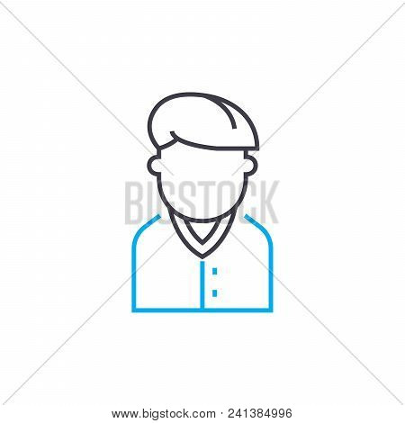 Boy-teenager Line Icon, Vector Illustration. Boy-teenager Linear Concept Sign.