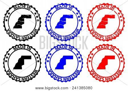 Made In Western Sahara - Rubber Stamp - Vector, Western Sahara Map Pattern - Black, Blue And Red