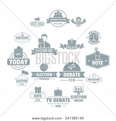 Election Voting Logo Icons Set. Simple Illustration Of 16 Election Voting Logo Vector Icons For Web