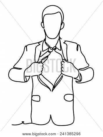 A Businessman Tearing The Shirt. Business Concept Illustration. Continuous Line Drawing. Isolated On