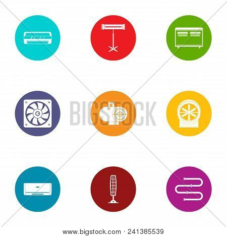 Coolant icons set. Flat set of 9 coolant vector icons for web isolated on white background poster