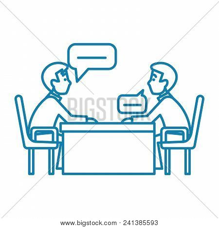 Business Conversation Line Icon, Vector Illustration. Business Conversation Linear Concept Sign.