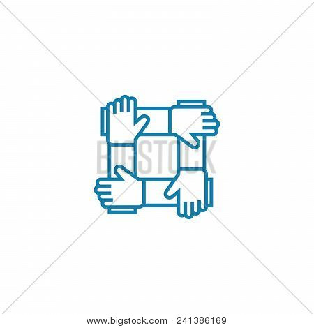 Business Partnership Line Icon, Vector Illustration. Business Partnership Linear Concept Sign.