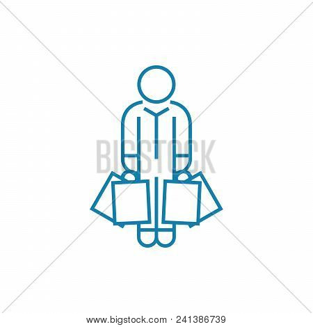 Buying Clothes Line Icon, Vector Illustration. Buying Clothes Linear Concept Sign.