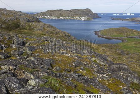 View Of Town Of Fogo And Icebergs From Rocky Hill, Fogo Island, Newfoundland