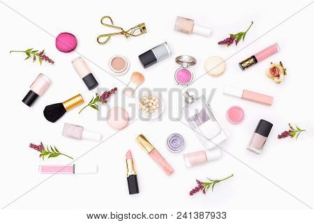 Set Of Decorative Cosmetics Of Pink Color On A White Background. View From Above