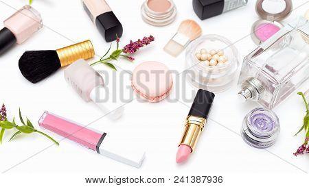 Decorative Make-up Cosmetics On White Background. Beauty
