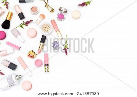 Set Of Pink Decorative Cosmetics On White Background. Copy Space