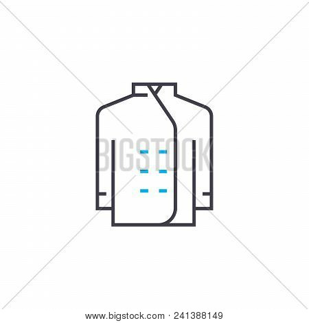 Chef's Uniform Linear Icon Concept. Chef's Uniform Line Vector Sign, Symbol, Illustration.