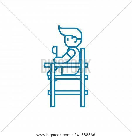 Children's Dining Chair Linear Icon Concept. Children's Dining Chair Line Vector Sign, Symbol, Illus