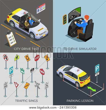 Driving School Isometric 2x2 Design Concept With Compositions Of Traffic Signs Drive Simulators Cars