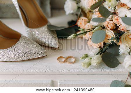 Wedding Shoes And Wedding Paraphernalia, Wedding Gold Rings, , Wedding Bouquet