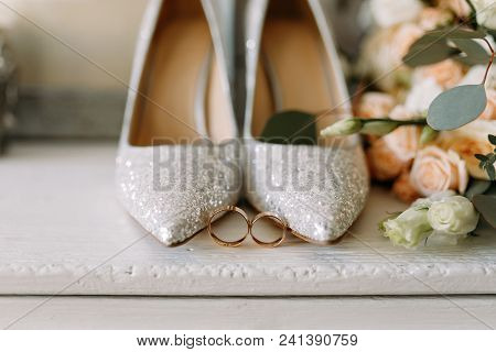 Wedding Shoes And Wedding Paraphernalia, Wedding Bouquet, Wedding Gold Rings