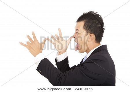young businessman laughing and making face someone