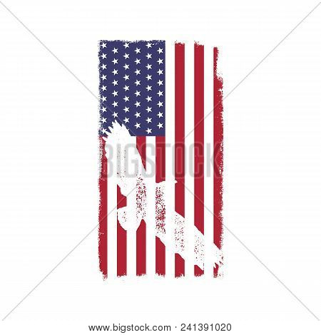 Usa American National Flag In Disstressed White Style. Vintage Design With Eagle. Perfect For T-shir