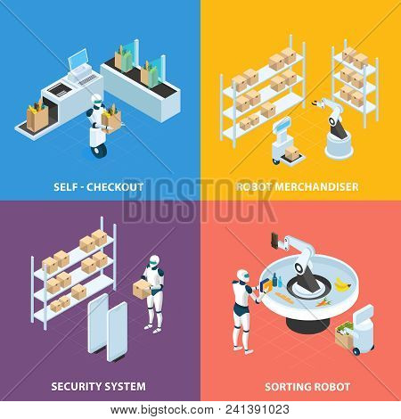Automated Shops Isometric Concept With Self Checkout, Robots For Merchandising And Sorting, Security