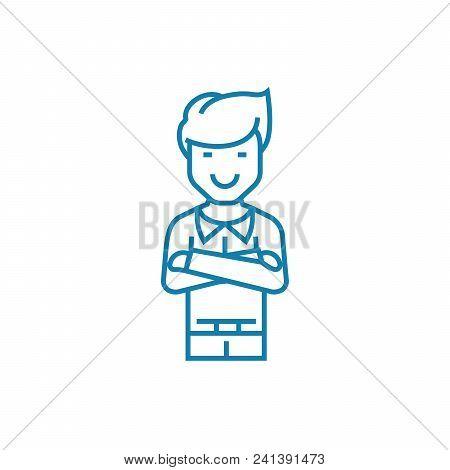 Confidence In Success Line Icon, Vector Illustration. Confidence In Success Linear Concept Sign.