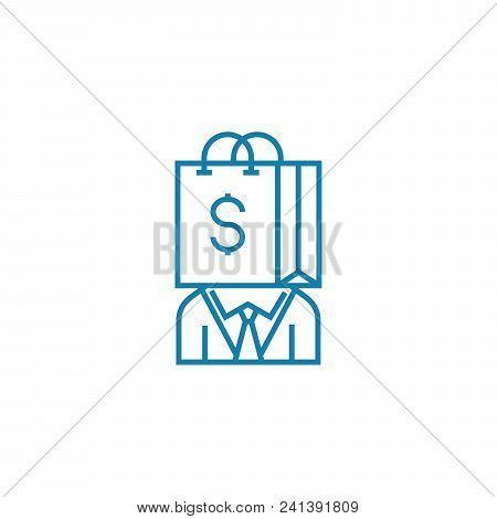 Consumer Line Icon, Vector Illustration. Consumer Linear Concept Sign.