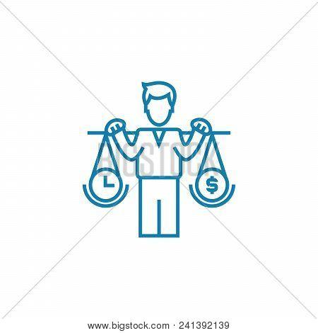 Control Of Profitability Line Icon, Vector Illustration. Control Of Profitability Linear Concept Sig