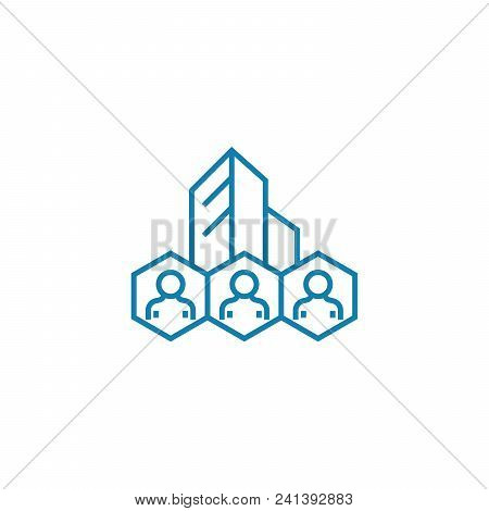 Corporate Staff Line Icon, Vector Illustration. Corporate Staff Linear Concept Sign.