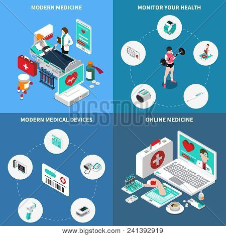 Digital Medicine Isometric Design Concept With Monitoring Of Own Health, Online Consultation, Medica