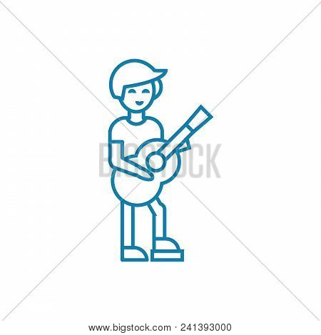 Country Guitar Player Line Icon, Vector Illustration. Country Guitar Player Linear Concept Sign.