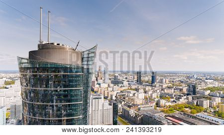 Warsaw, Poland - May 2, 2017. Aerial Drone View From Above Of City Center Skyline